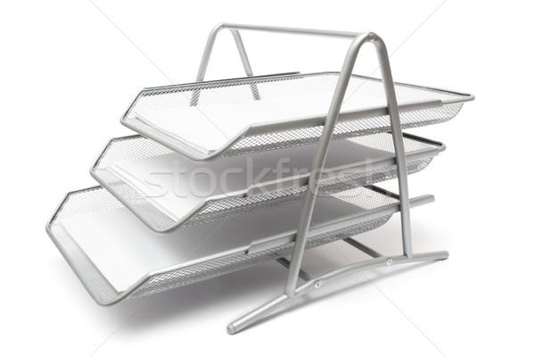 Metaal geïsoleerd witte business papier bestanden Stockfoto © winterling