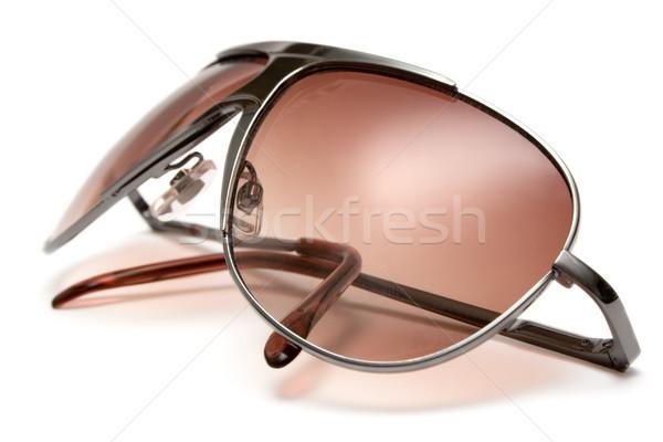 Bruin zonnebril geïsoleerd witte ontwerp glas Stockfoto © winterling