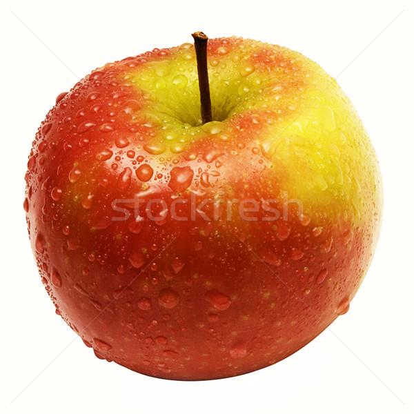 Nat appel regendruppels geïsoleerd witte Stockfoto © winterling
