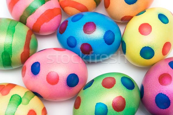 Coloré œufs de Pâques haut vue isolé Photo stock © winterling