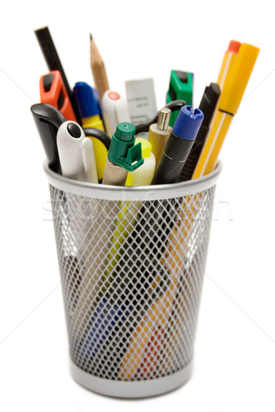 Lápis coleção escrita metal arame caneca Foto stock © winterling