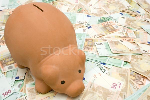 Piggy bank notas gordura em pé euro negócio Foto stock © winterling