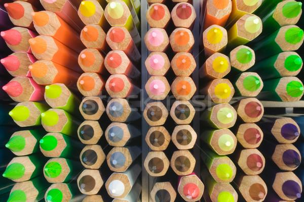 Kutu renkli kalemler yakın üst görmek Stok fotoğraf © winterling