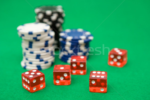 Poker Chips and Red Dice Stock photo © winterling