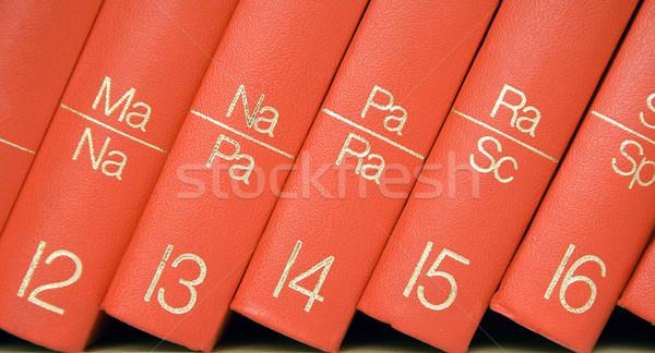 Stockfoto: Encyclopedie · boekenplank · sluiten · rij · Rood