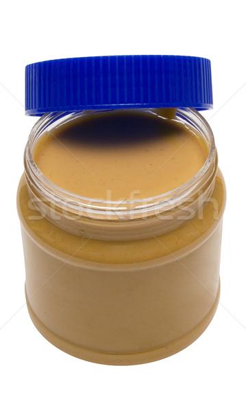 Szkła masło orzechowe otwarte odizolowany biały Zdjęcia stock © winterling
