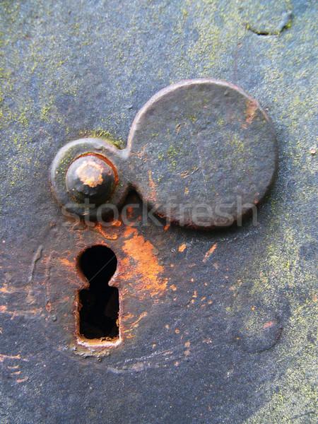 Foto stock: Resistiu · porta · trancar · enferrujado · sujo · velho