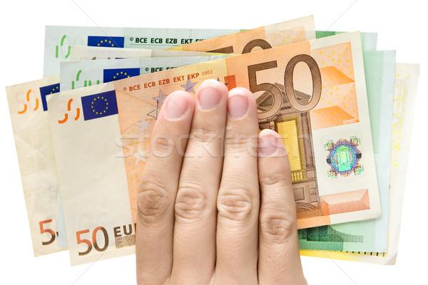 Kazanç kadın el euro Stok fotoğraf © winterling