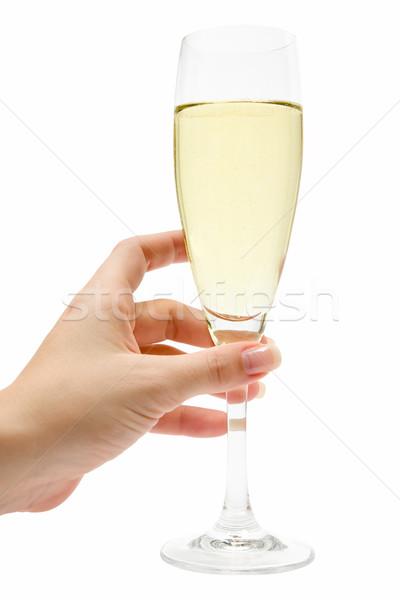 Foto stock: Vidro · champanhe · feminino · mão · isolado