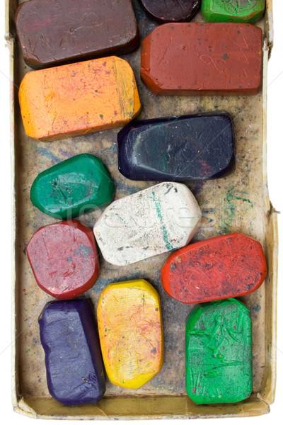Sale cire crayons coloré vieux boîte Photo stock © winterling