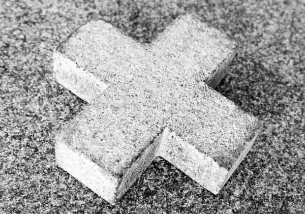 Steen kruis eenvoudige kerk borden godsdienst Stockfoto © winterling