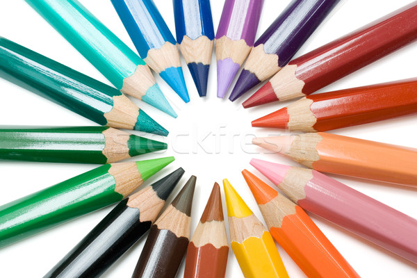 Cirkel krijtjes gekleurd potloden geïsoleerd witte Stockfoto © winterling
