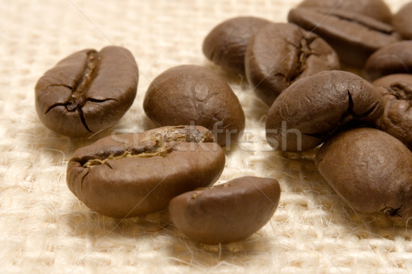 Coffee Beans on Linen Stock photo © winterling