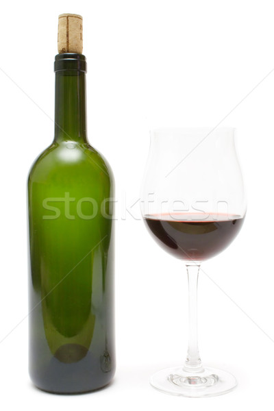 Verre vin vert bouteille vin rouge isolé Photo stock © winterling