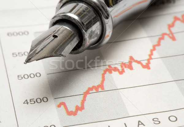 Stock Chart with Fountain Pen Stock photo © winterling
