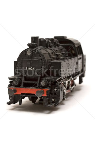 локомотив модель черный миниатюрный изолированный белый Сток-фото © winterling