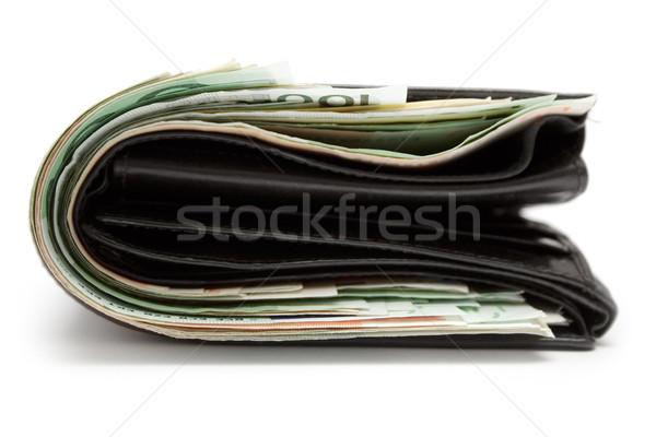 Vet portemonnee gevuld leder portemonnee geïsoleerd Stockfoto © winterling