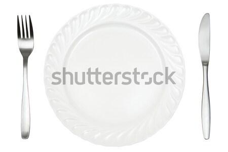 Lugar prato garfo faca isolado branco Foto stock © winterling