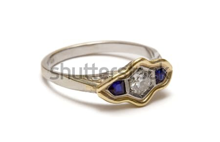 Prata anel diamantes isolado branco moda Foto stock © winterling