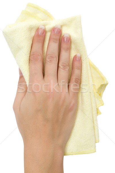 Vrouwelijke hand Geel vod geïsoleerd witte Stockfoto © winterling
