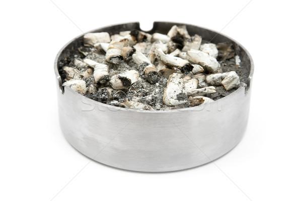 Stok fotoğraf: Tok · küllük · yalıtılmış · beyaz · duman · ilaçlar