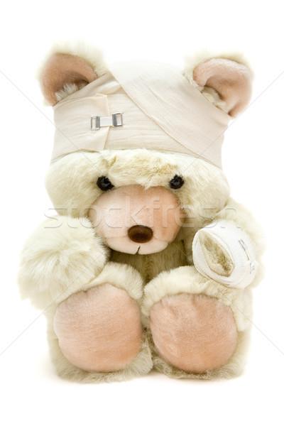 Teddy verwond teddybeer geïsoleerd witte gezondheid Stockfoto © winterling