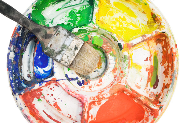 Paintbrush on Color Palette Stock photo © winterling