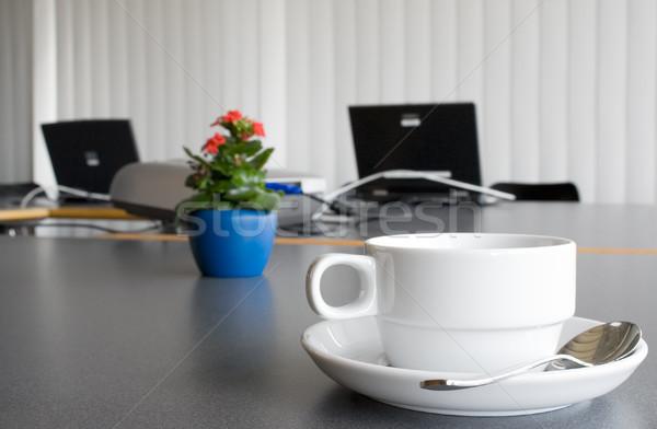 Laptops flores café escritório negócio computador Foto stock © winterling