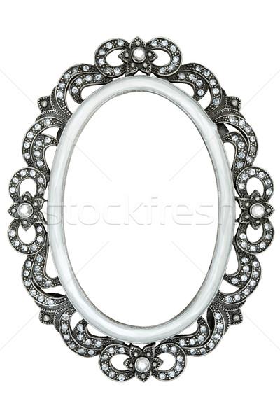 Fotolijstje metaal frame juwelen geïsoleerd Stockfoto © winterling