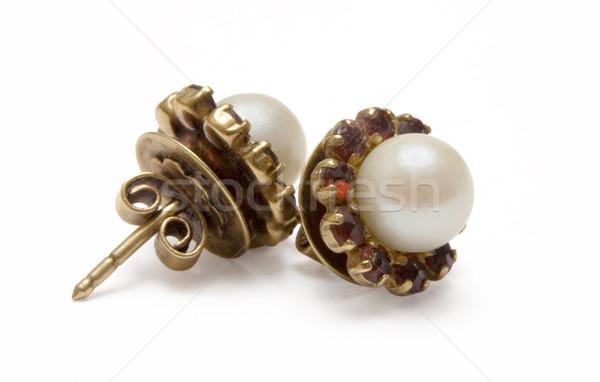 Garnet Earrings with Pearls Stock photo © winterling