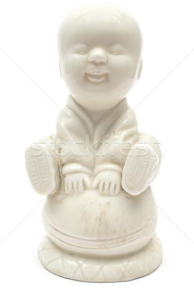 Pequeno buda antigo estátua isolado branco Foto stock © winterling
