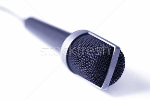Mikrofon izolált fehér sekély technológia fém Stock fotó © winterling