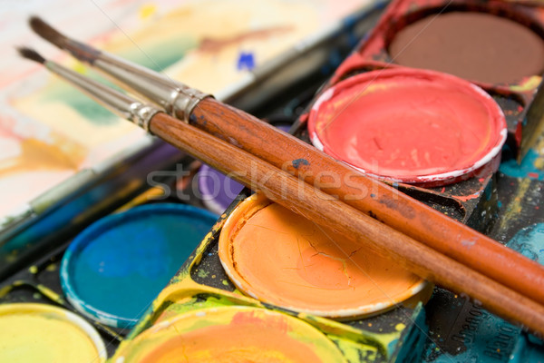 Stock photo: Watercolors Close View