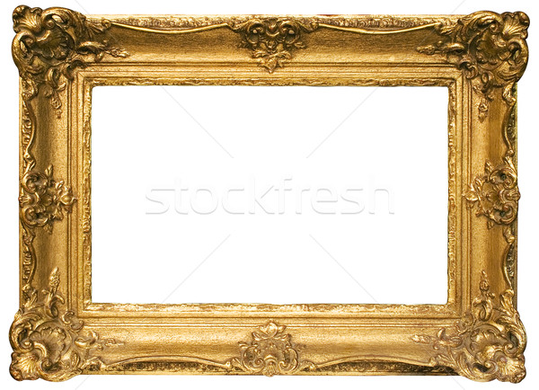 Gold Plated Wooden Picture Frame with Clipping Path Stock photo © winterling
