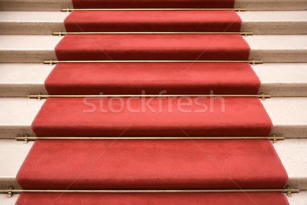 Vörös szőnyeg márvány lépcsőfeljáró sétál színház szőnyeg Stock fotó © winterling