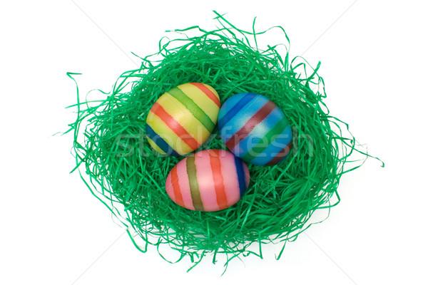 Paaseieren gras gekleurde eieren kunstgras geïsoleerd witte Stockfoto © winterling