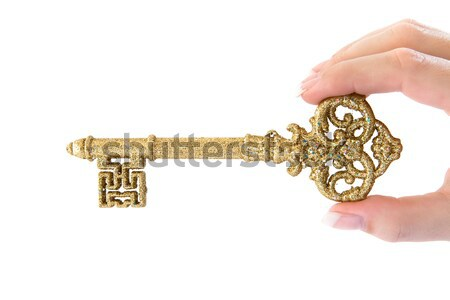 Altın anahtar yaldızlı yalıtılmış beyaz Metal Stok fotoğraf © winterling