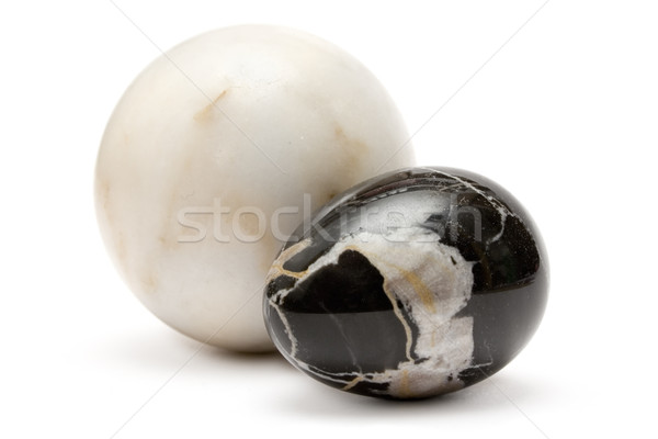 Dwa marmuru czarno białe piłka odizolowany Zdjęcia stock © winterling