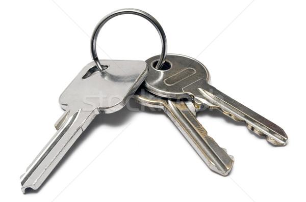 Três teclas anel apartamento metal isolado Foto stock © winterling
