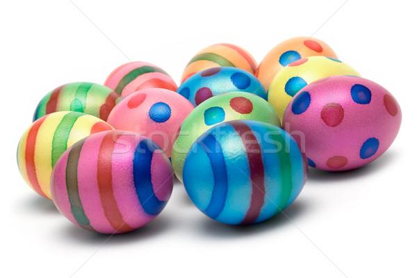 Paaseieren gekleurde eieren geïsoleerd witte groep tijd Stockfoto © winterling