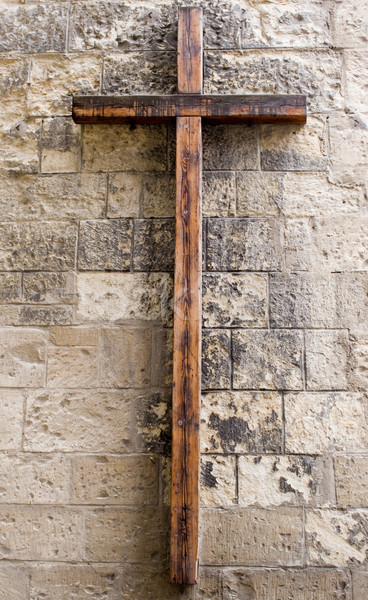 Wooden Cross on Wall Stock photo © winterling