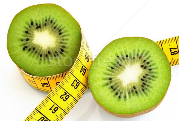 Foto stock: Kiwi · dieta · fatias · isolado · branco