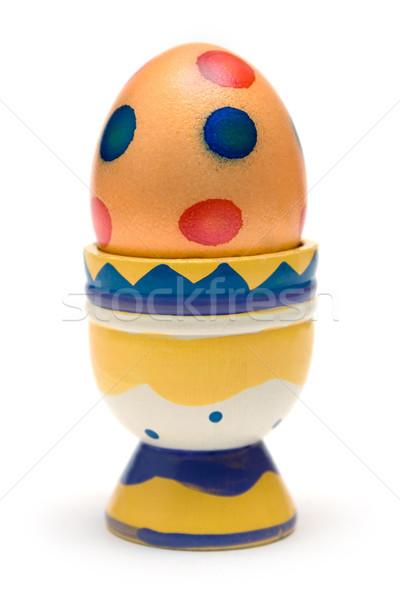 イースター 朝食 卵 木製 エッグカップ ストックフォト © winterling