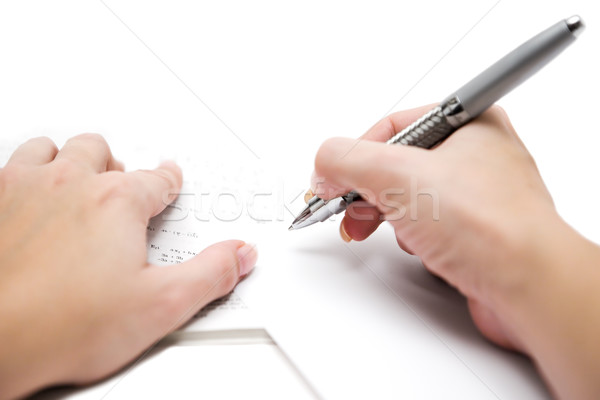Huiswerk wiskundig formules vel papier ondiep Stockfoto © winterling