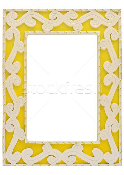 Geel fotolijstje geïsoleerd witte bestand Stockfoto © winterling