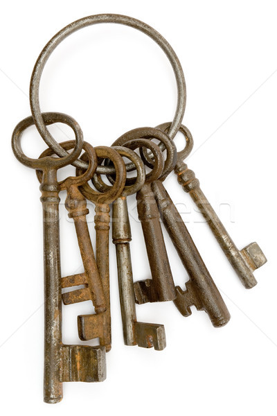 Zardzewiałe klucze antyczne odizolowany biały Zdjęcia stock © winterling
