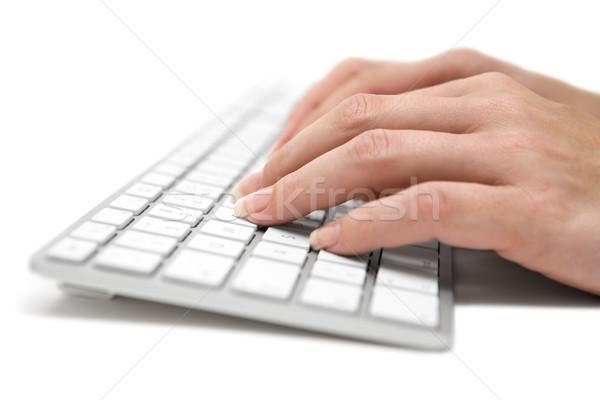 Schrijven grijs toetsenbord vrouw typen moderne Stockfoto © winterling