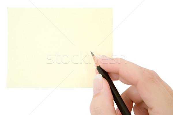 Női kéz ír jegyzet izolált fehér Stock fotó © winterling