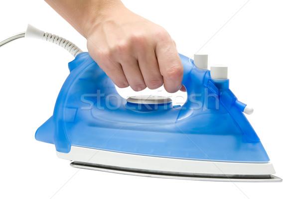 Strijken vrouwelijke hand Blauw ijzer Stockfoto © winterling
