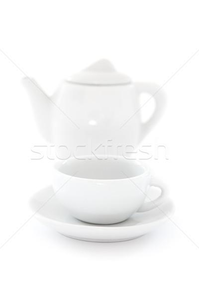 Café pot tasse de café blanche plats peu profond Photo stock © winterling